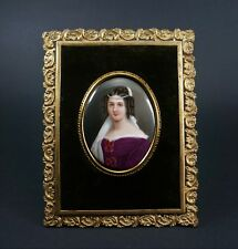 Antique Miniature Porcelain Painted Portrait of Lady in Gilt Bronze Frame