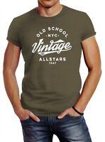 Neverless® Herren T-Shirt College Style Schriftzug Oldschool Vintage Allstars