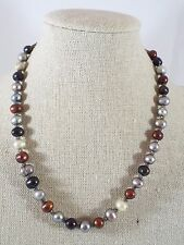 Genuine Multicolor Pearl Cranberry Grey White & Glass Seed Bead Strand Necklace