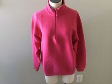 Kate Lord Quilted Half Zip Jacket S Small Pink Cotton Blend Golf Pull Over