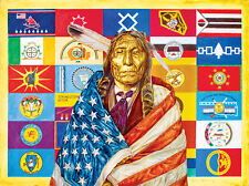 Jigsaw Puzzle Ethnic Native American Flags of Our Fathers 1000 piece NEW MadeUSA