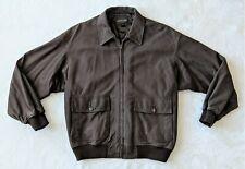 Vintage Golden Bear Brown Leather Bomber Flight Jacket, Coat, XL, X-Large