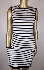 GASPARRE CASHMERE Black Striped Sweater Jumper Knit Skirt DRESS Suit Career XS