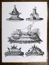 Gravure URBAIN DUBOIS Cuisine Artistique 1874 Saumon ANGUILLES Char de Neptune