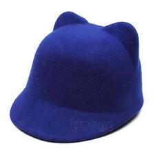 New Winter Fashion Women Devil Hat Cute Kitty Cat Ears Wool Derby Bowler Cap