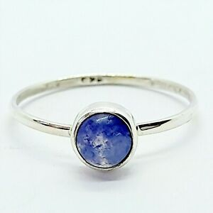 Brand New Sterling Silver 925 Gemstone (Round) Ring, Size S 1/2
