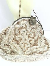 Antique/ Vintage Cream Colored Beaded Purse w/ Marcasite Clasp
