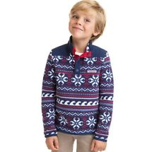 Vineyard Vines Boy Medium Fairisle Snap Placket Fleece Pullover Sweater Blue