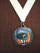 team lot of 10 colorful rubber Hockey medal with white neck ribbon trophies