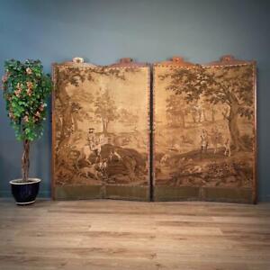 Antique Victorian Large Oak Framed 4 Panel Room Divider Screen For Restoration