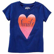 "NWT OshKosh Girls Short Sleeve ""Heart Smile"" Graphic Tee; Royal Blue (3T)"