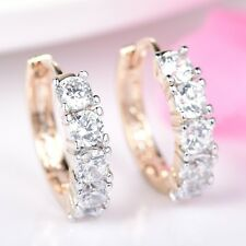 Brilliant Lady Yellow Gold Filled Promise Design Wedding Hoop Earring Jewelry