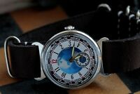 Wristwatch Exclusive Pobeda World Time City Watch Mechanical New Leather Strap