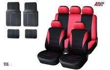 13 PCS RED CAR SEAT COVERS & RUBBER CAR MATS SET FOR NISSAN QASHQAI 2010>