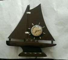 Vintage United Self Starting Wooden Ship Clock Works Great