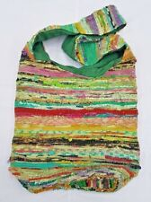 ECO FRIENDLY RECLAIMED SILK & COTTON HANDMADE SLING BOHO HAPPY BAG 44X40 CM[GRN]