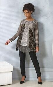 Printed Lace Layered Long Sleeve Tunic  - Ladies Womens - Klass Collection