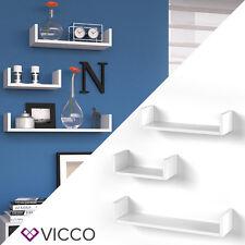 VICCO Wandregal 3er Set 3 verschiedene Größen Hängeregal Büroregal Weiß