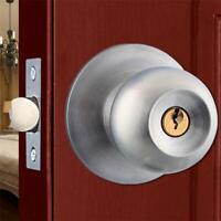 Stainless Steel Ball Shape Round Knob Keyed Door Lock Handle Set With Key #2