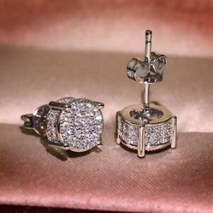 18K WHITE GOLD FILLED ICED STUD EARRINGS MADE WITH  SWAROVSKI CRYSTALS WG33