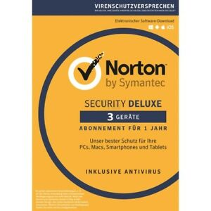 Norton Security Deluxe 2021 3 Geräte 1 Jahr PC,Mac,Android,iOS Internet Security