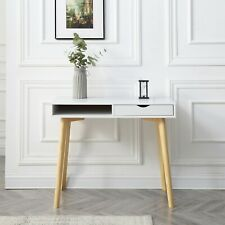 New Modern White Writing Desk With Wooden Legs