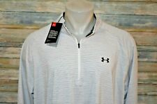 NWT UNDER ARMOUR LOOSE 3XLT Men's L/S Poly Spandex 1/4 Zip Pullover Gray Striped
