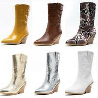 Women Mid Calf Cowboy Boots Thick 7cm Heels Pointy Toe Shoes Pull On Casual New