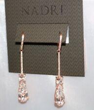 Nadri Rose Gold Cubic Zirconia Dangle Earrings MSRP 85.00 Wedding! NWT New