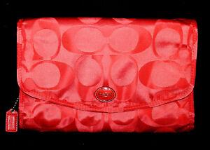 COACH Hanging Travel Cosmetic Makeup Toiletry Bag Coral/Orange Signature Fabric