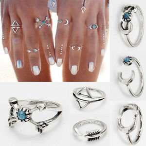 6PCS NEW Retro Boho Ethnic Carved Antique Silver Charm Rings for Women
