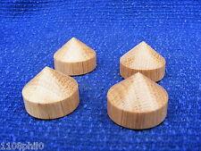 4 Oak cone feet 28mm dia  for Hi Fi  / stereo equipment speaker isolation feet