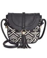 INC International Concepts Lottey Saddle Crossbody Handbag Black White
