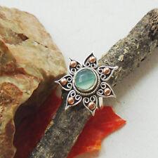 Chalcedon blau grün, Kupfer modern Design Ring, Ø 18,5 mm, 925 Sterling Silber
