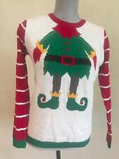 UGLY CHRISTMAS SWEATER Women Small S Elf Body Xmas Holiday Party Funny Red Green