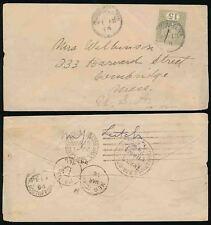 Ceylon QV 1894 Nuwara eliya a USA 15c affrancatura... Cambridge Boston porta computer