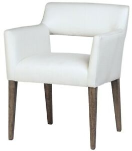 """25"""" W Giordana Dining Chair Modern Cutout Back White Fabric Tapered Wooden Legs"""