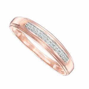 Men's 1/10  Diamond Wedding Band In 10K Solid Rose Gold