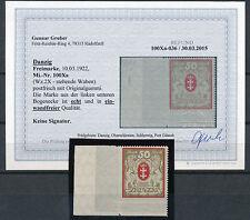Danzig 50 M. großes Wappen 1922** Bogenecke Michel 100 Xa Befund (S13692)