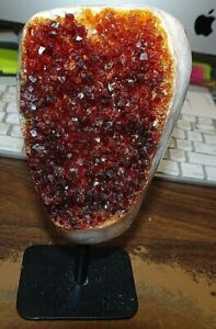 LARGE CITRINE CRYSTAL CLUSTER GEODE F/ BRAZIL CATHEDRAL STEEL  STAND