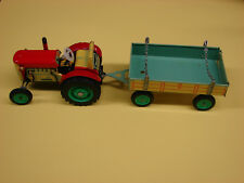 SCHYLLING TRACTOR AND TRAILER WIND-UP TIN TOY NIB WITH KEY / GEAR INSTRUCTIONS