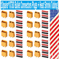 10pairs XT30 Power Plug Connectors for RC Lipo Battery with 20 pairs Heat Shrink