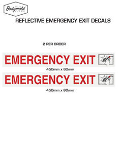 Reflective EMERGENCY EXIT Stickers for Coaster Buses, size: 450mm x 60mm