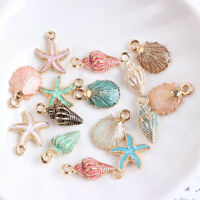 13 Pcs/Set Ornaments Charms Metal Conch Sea Shell Pendants DIY Jewelry Making