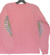 Kids Hand-dyed Tie Dye TShirt Size YOUTH LARGE Long Sleeve Pink w Elbow Dye YL