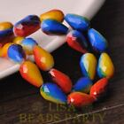 New 8pcs 15X10mm Teardrop Faceted Glass Loose Spacer Beads Red&Yellow&Blue