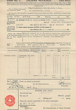 1936 Inland Revenue Form No.1 of estate of Lewis Gordon with 10% Legacy stamp