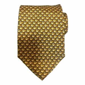 Salvatore Ferragamo Gold Birds Neat Classic Silk Tie Made in ITALY $142 Retail