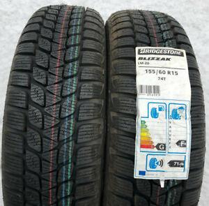 2 x 155/60R15 74T Winterreifen Bridgestone Blizzak LM-20 2014 Freihaus