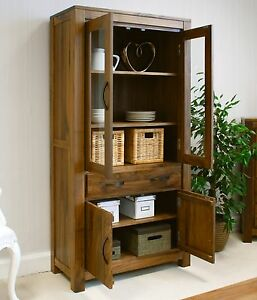Mayan large glazed bookcase display cabinet solid walnut dark wood furniture